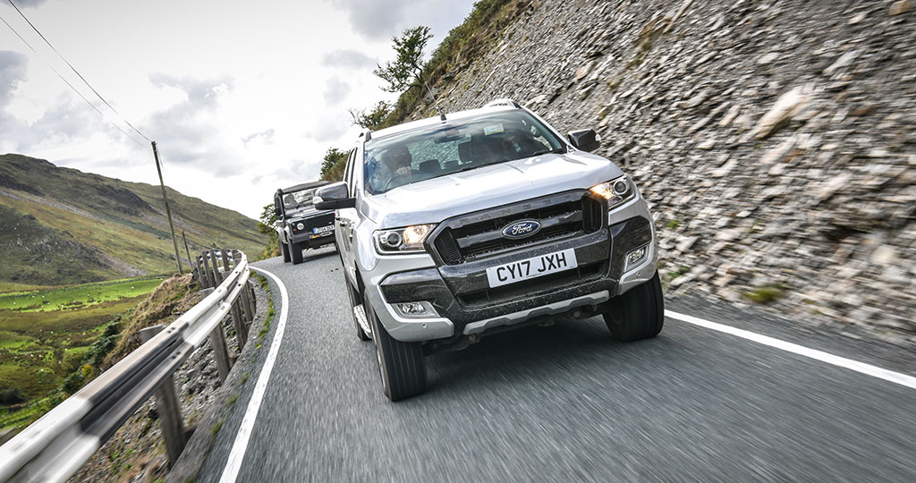 SuperPro-equipped Ford Ranger and Land Rover Defender on fast and flowing Welsh roads