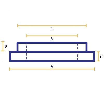 SPF1028K: A=105mm B=66mm C=3mm D=15.5mm E=72mm, Tapered Spigot